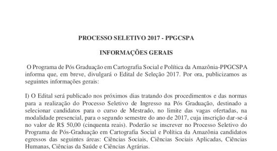 Aviso de Edital de Seleção PPGCSPA 2017-2 em português e inglês
